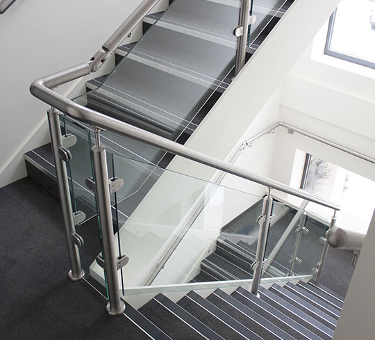 Stainless Steel Handrailing with Glass Clamps